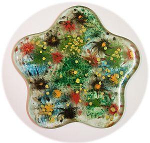 runder Glasuntersetzer 19 cm Fusingart mit Lüstermalerei
