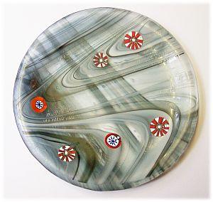 Glasschale, Dipschale 12,5 rund cm grau
