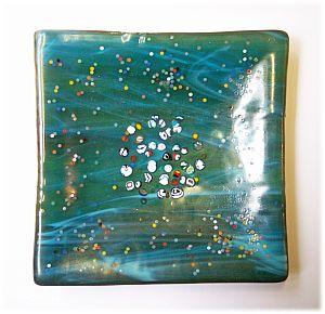 Glasschale, Dipschale 11 x 11 cm smaragdgrün