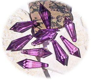 10 schöne große Teardrop Perlenset 30 mm Tropfen lila