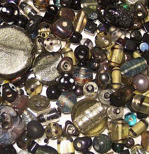 1 Perlenset mit 100 tiefe Nacht Perlenmix 6 -30 mm