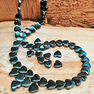 10 Hämatit Herzen glänzend glatt Metallperlen Spacer 8 mm