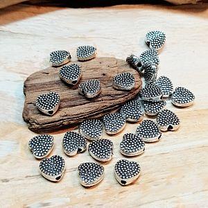 10 Herzen gepunktet antik silber Metallperlen Spacer 7 mm