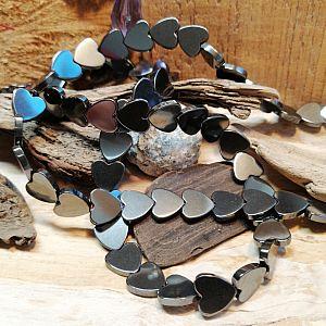 10 Hämatit Herzen glänzend Metallperlen 10 mm