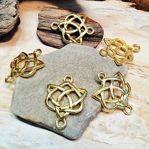 1 Metall Verbinder keltischer Knoten für Ketten Armbänder 25 mm gold