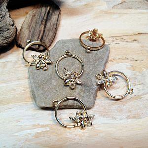 1 Metall Verbinder mit Biene für Ketten Armbänder 25 mm gold
