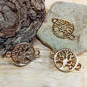1 Metall Verbinder Lebensbaum für Ketten Armbänder 22,5 mm gold