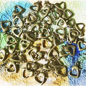 10 Metall Karabinerhaken Herzform 12 mm bronze antik
