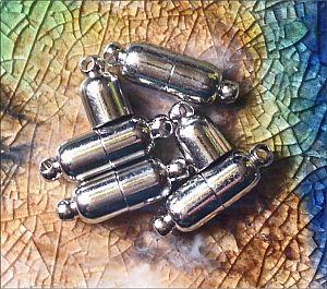 2 Magnetverschlüsse Walzenform basic antik silber