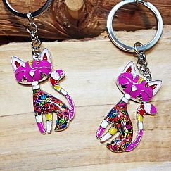 1 Schlüsselanhänger Metall und Emaille mit Katze