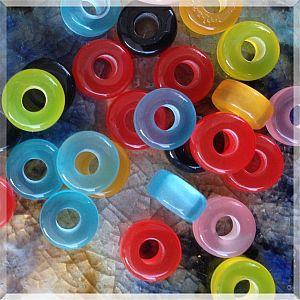 30 Modulperlen acryl Katzenaugen bunt 9 mm Loch 3,5 mm