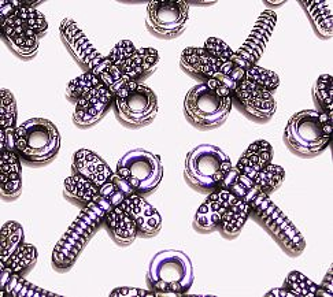10 Anhänger Libellen silber antik 20 mm Kinderperlen