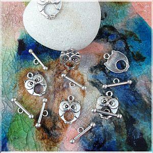 4 Sets Toggel Knebelverschlüsse Eule 18 mm silber antik