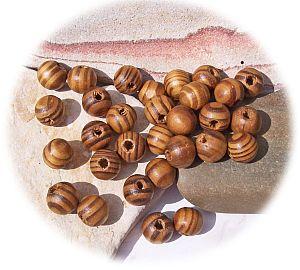 10 Holzperlen Kinderperlen natur braun gemasert 23 mm