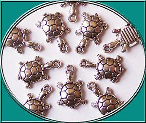 2 Metallanhänger 21 mm Schildkröte Kettenanhänger