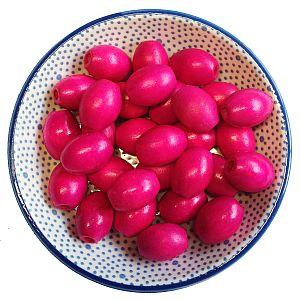 20 große Kinderperlen Holzperlen pink 17 mm Olivenform