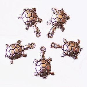 2 Metallanhänger 21 mm Schildkröte nickelfrei Kettenanhänger