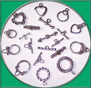 10 verschiedene Sets Toggel Knebelverschlüsse silber und antik