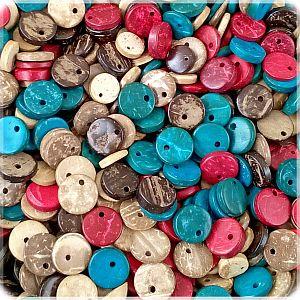 20 Perlen Anhänger aus Kokosnussholz Mix 10 mm