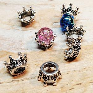 10 Metall Perlenkappen als Kronenmotiv für Perlen 6 u. 8 mm
