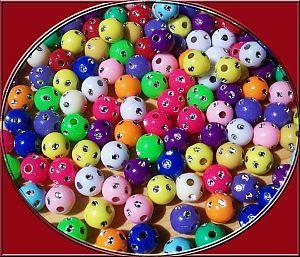 50 schöne Strasseffekt Perlen 8 mm Kugel Kinderperlen bunt