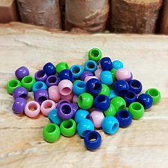 30 bunte einfache Kinder Modulperlen Grosslochperlen Mix Loch 4 mm