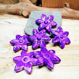2 Acrylperlen Blumen violett marmoriert 30 mm