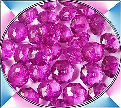 Perlenset 10 Kinderperlen acryl faceted rondelle rosa 14 mm