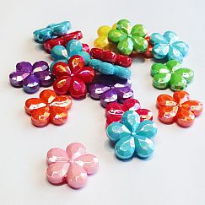 10 große acryl Blumenperlen Mix 20 mm