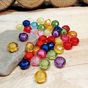 40 kleine faceted Acryl Rondelle Perlen mit Füllung 8 mm