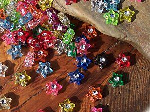 40 schöne Strasseffekt Perlen 9 mm Sterne Mix Kinderperlen bunt
