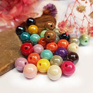 Perlenset 20 opake UV-platinierte Acrylperlen ohne Naht 10 mm bunt