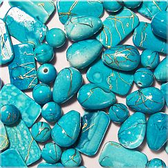 20 edelacrylic Perlen Formenmix 10 - 18 mm türkis