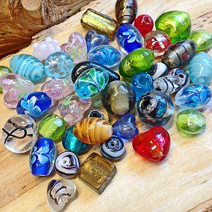 100 g verschiedene Lampwork Glasperlen handmade 10 - 25 mm
