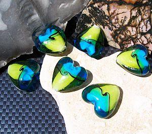 4 Glasperlen Lampwork handmade blau grün 20 mm Herz