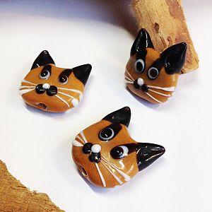 Katzenperlen mit 9 Glasperlen Katzen handmade 22 mm