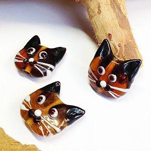 2 Katzenperlen im Set Glaslampworkperlen handmade 22 mm braun