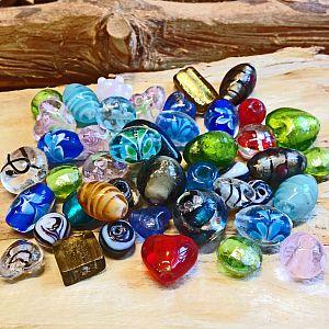 Perlenset 10 große bunte Lampwork-Glasperlen 20 - 40 mm