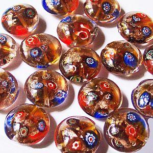 2 Glasperlen Lampwork Millefiori kupfer 20 mm