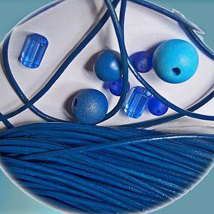1 m Lederschnur Lederband 2 mm blau Lederschnüre