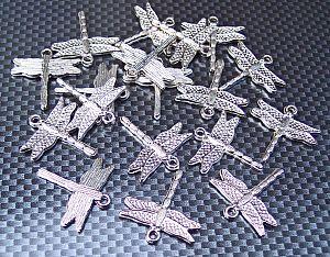 10 große Anhänger Libelle 26 mm dragon fly silber Kinderperlen