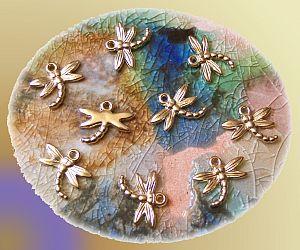 10 Anhänger Libellen Dragon fly gold 20 mm Kinderperlen