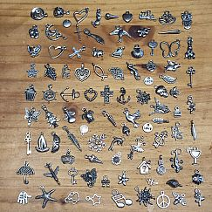 100 Metall Kettenanhänger für Bettelarmband silber antik