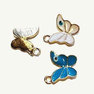 2 Metallanhänger Schmetterling gold Emaille 13 mm x 12 mm