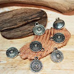 10 Metallanhänger Charms rund antik silber 12 x 10 mm Loch 1 mm