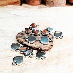 10 Metallanhänger Herz Charms antik silber 12 x 10 mm Loch 1,5 mm