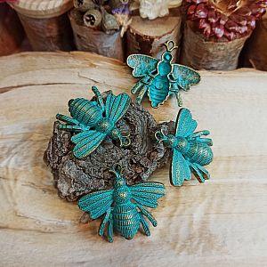 2 Kettenanhänger Charms Insekt bronze antik Patina 40 mm