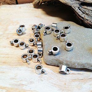 10 Metall Charmanhänger Modulkomponente silber 7,5 x 5 mm Loch 2,5 mm