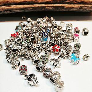20 versch. Metall beads Spacerperlen Großlochperlen Modulperlen