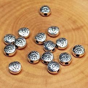 10 Metallperlen Auge Spacerperlen silber massiv 6 mm